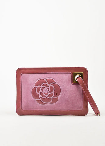 Chanel Pink Suede Patent Leather Camellia Zip Wristlet Clutch Bag Frontview
