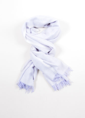 "Purple and White Chanel Cashmere Lightweight Fringe Trim ""CC"" Pashmina Scarf Frontview"