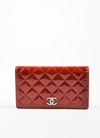 Red Chanel Patent Leather Quilted 'CC' Bifold Wallet Frontview