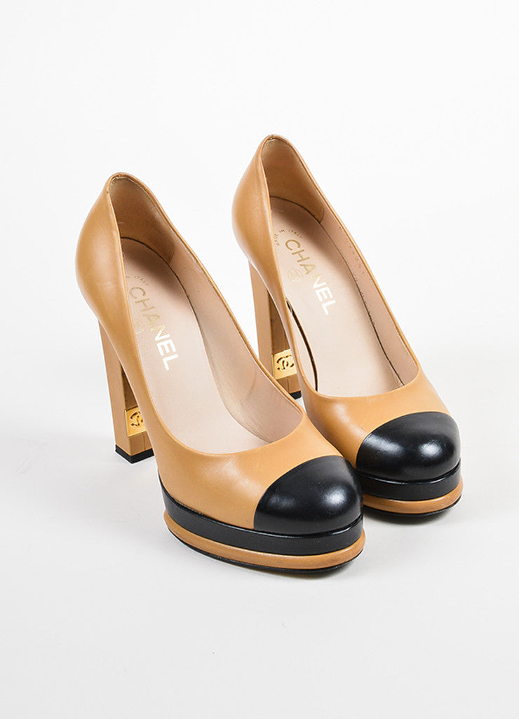Tan and Black Chanel Leather Cap Toe Platform Pumps Frontview