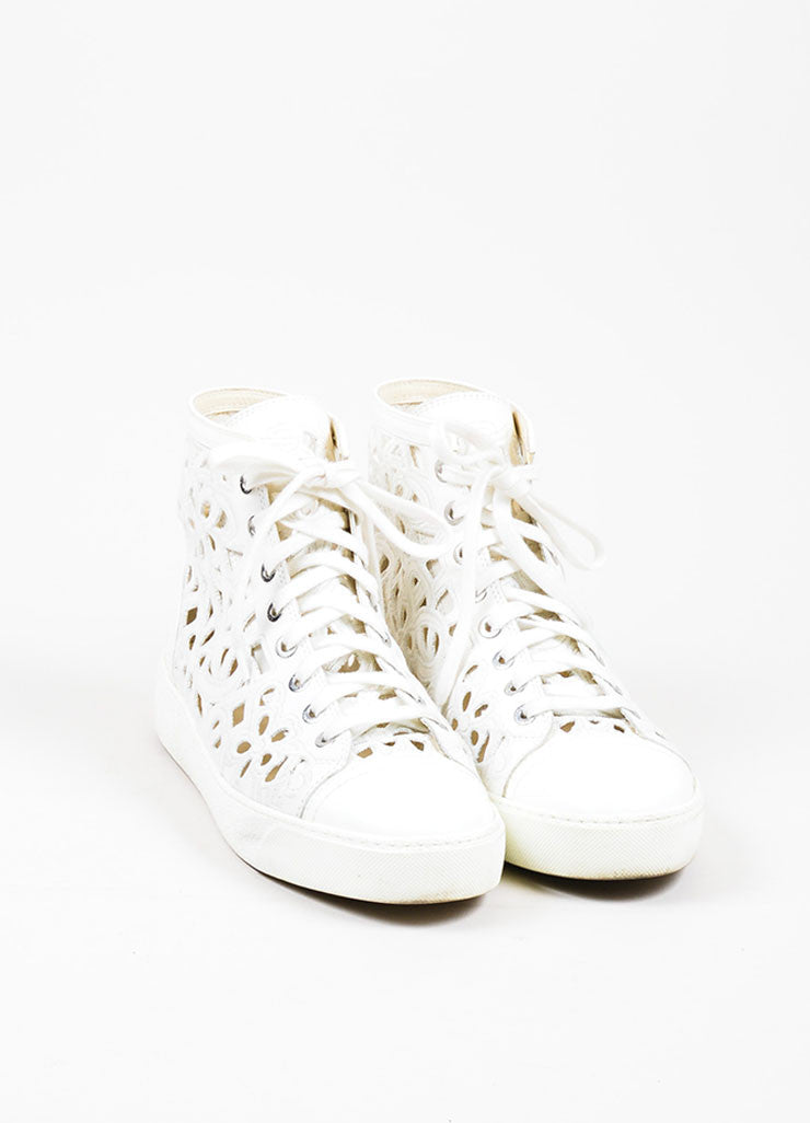 White Chanel Laser Cut Camellia Floral High Top Sneaker Front