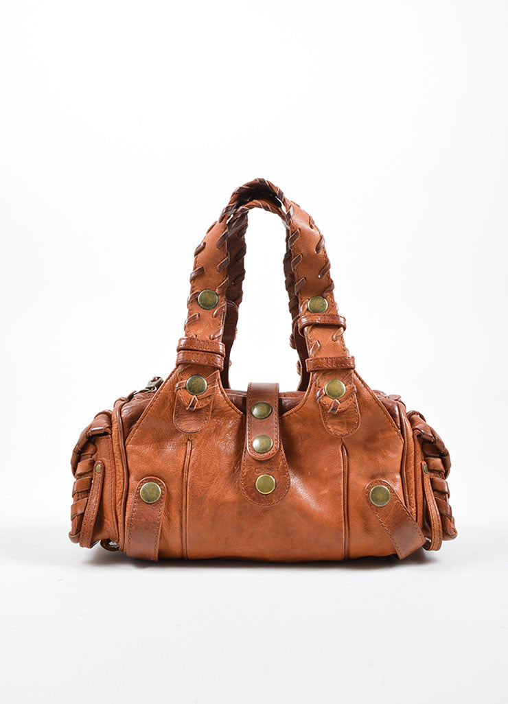 "Chloe Brown Leather Whipstitch ""Mini Silverado"" Satchel Bag Frontview"