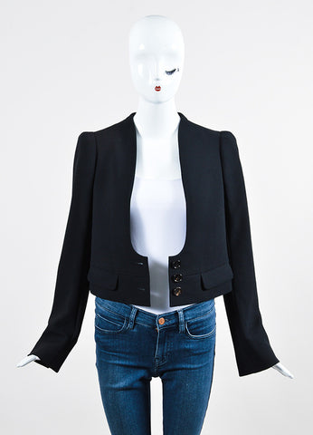 Black Chloe Collarless Scoop Neck Button Cropped Blazer Jacket Frontview 2