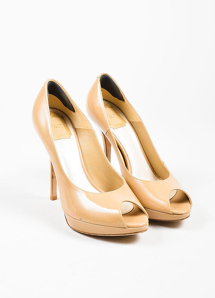 "Nude Tan Christian Dior Patent Leather Peep Toe ""Miss Dior"" Pumps Frontview"