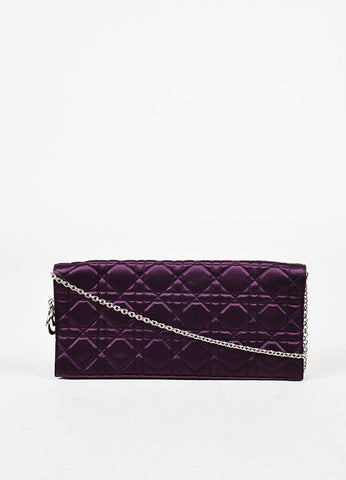 "Christian Dior Purple Satin Quilted Chain Strap ""Cannage"" Flap Clutch Bag Frontview"