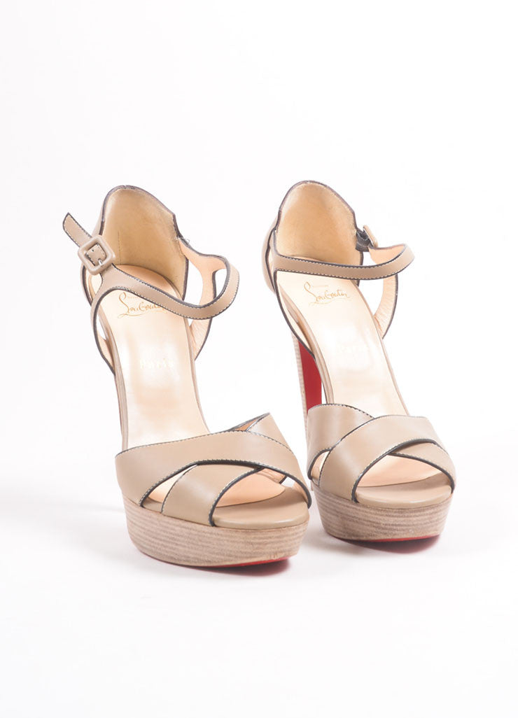 "Christian Louboutin Tan Leather Stacked Platform ""Sporting"" Sandals Frontview"