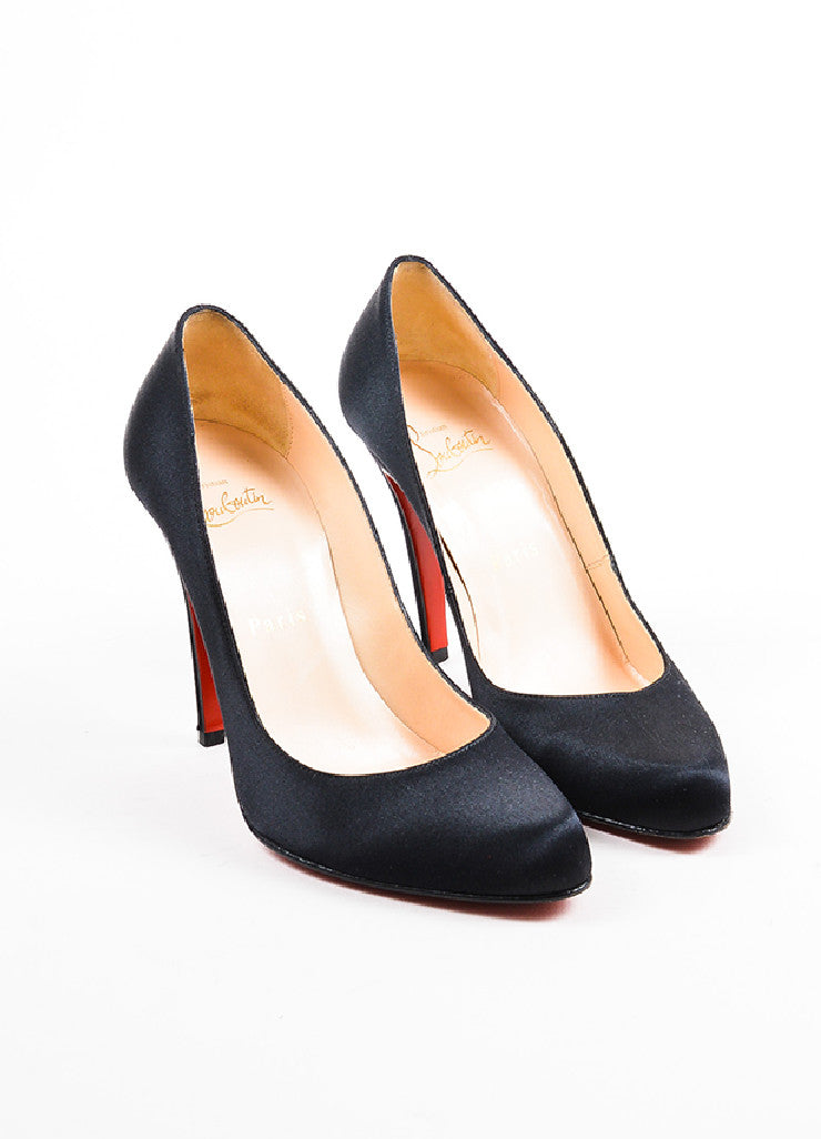 "Christian Louboutin Black Satin Almond Toe ""Decollete"" Pumps Frontview"