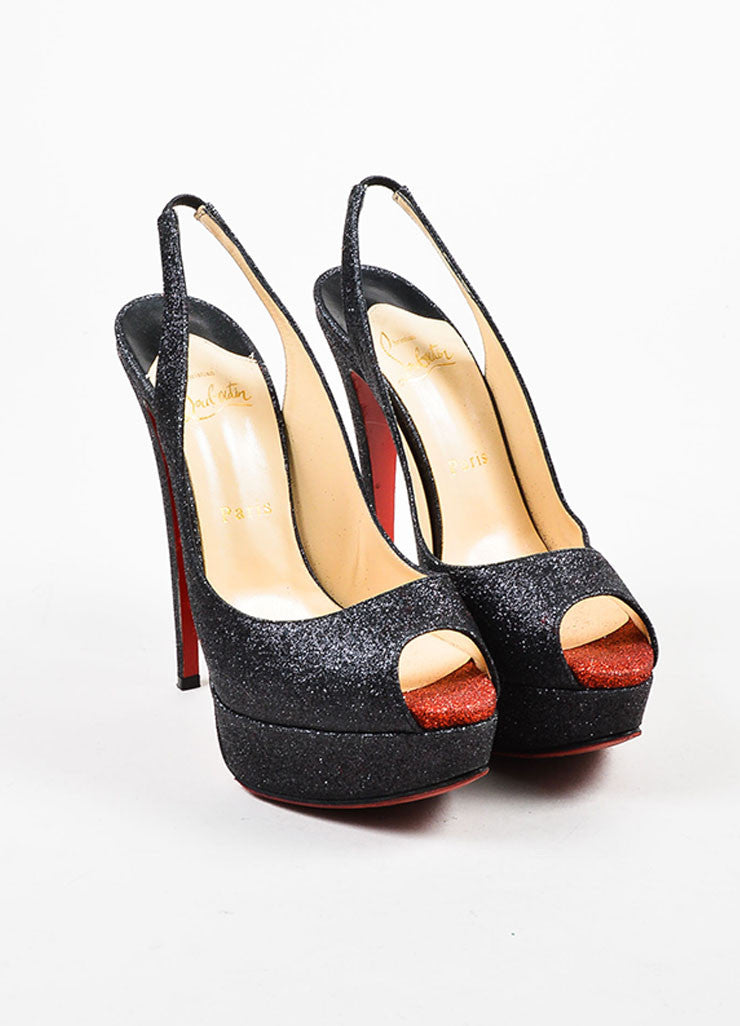 "Black and Red Glitter Christian Louboutin ""Lady Peep Sling 150"" Pumps Frontview"