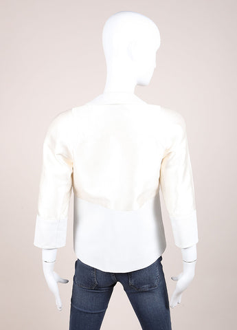 Creatures of the Wind Cream and White Satin and Silk Blend Leather Trim Jacket Backview
