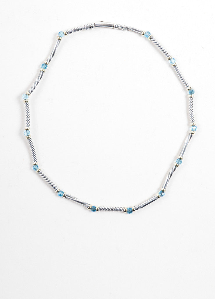 David Yurman Gold Sterling Silver Blue Topaz Cable Choker Necklace Front