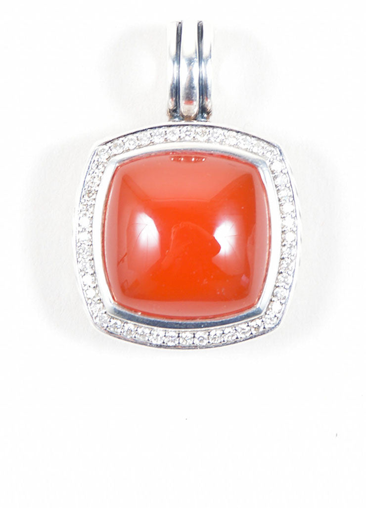 "David Yurman Sterling Silver, Carnelian, and Diamonds ""Albion"" Pendant Frontview"