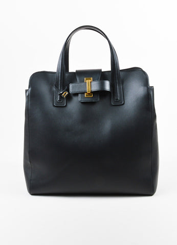 "Black Leather Delvaux  ""Simplissime"" Oversized Tote Bag Frontview"