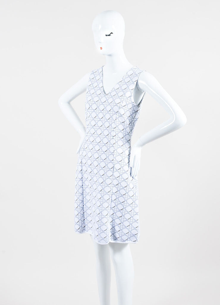 "White and Black Christian Dior Knit ""Cannage"" Print Sleeveless Dress Sideview"