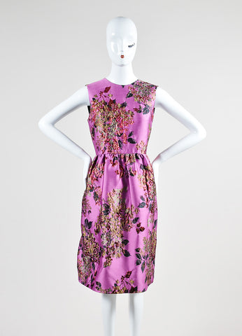 "Erdem Violet and Red Metallic Floral Brocade ""Uta"" Sleeveless Dress Frontview"