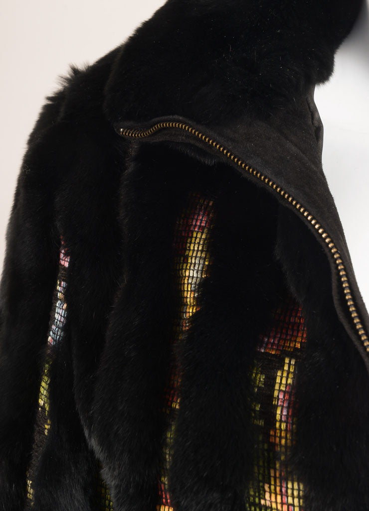 Etro Black and Multicolor Fur Woven Striped Zip Jacket Detail