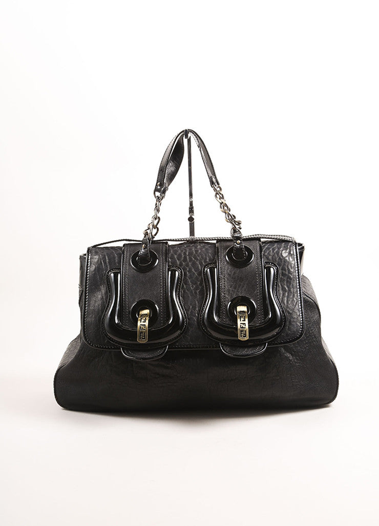 "Fendi Black Textured Leather ""B."" Double Buckle Flap Bag Frontview"