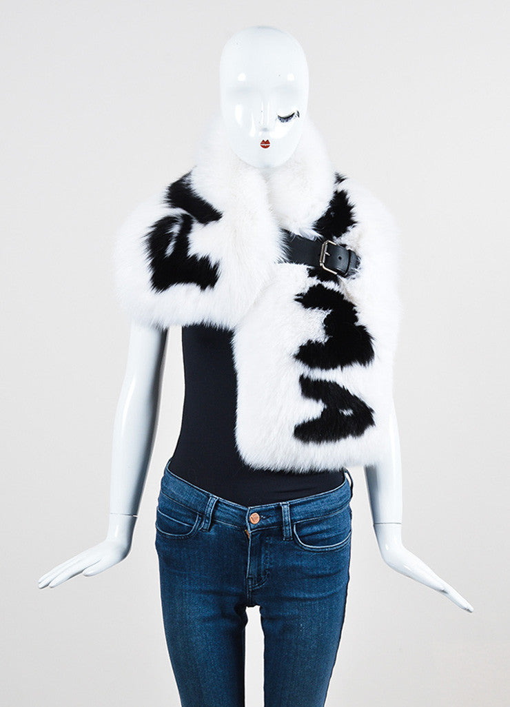 "Fendi Black and White Fox Fur ""Fendi Roma"" Wrap Frontview"