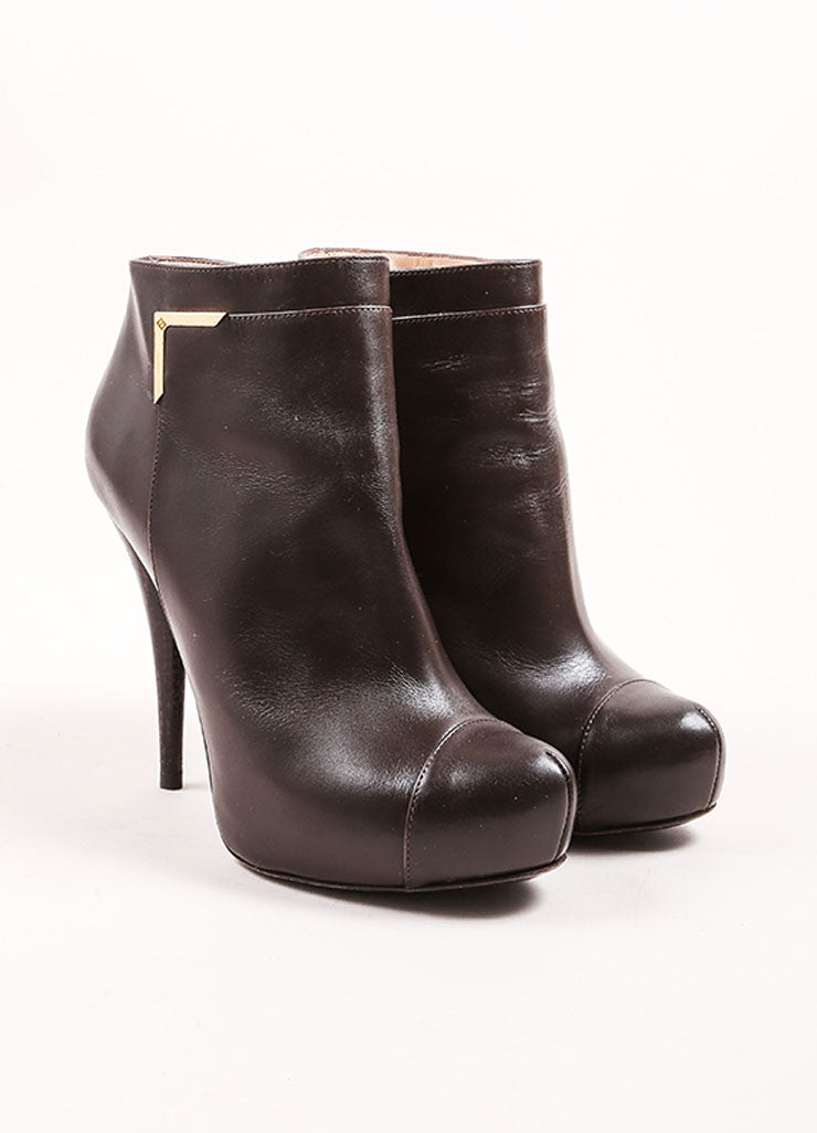 Fendi Dark Brown Leather Hidden Platform Cap Toe Ankle Booties Frontview