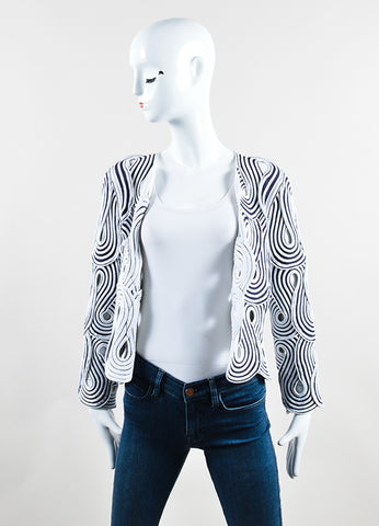 Giorgio Armani Black and White Stretch Knit Loopy Cut Out Jacket Frontview