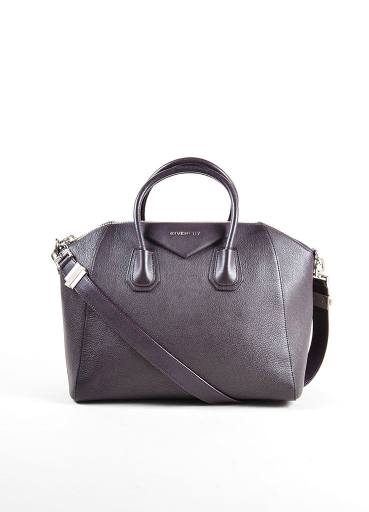 "Givenchy Dark Purple Grained ""Sugar"" Goatskin Leather Medium ""Antigona"" Handbag Frontview"