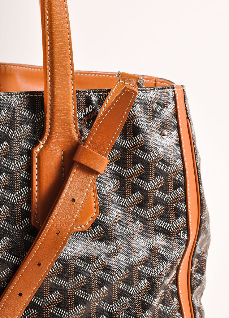 "Goyard Tan, Black, and White Canvas and Leather Chevron Print ""Voltaire"" Tote Bag Detail 2"