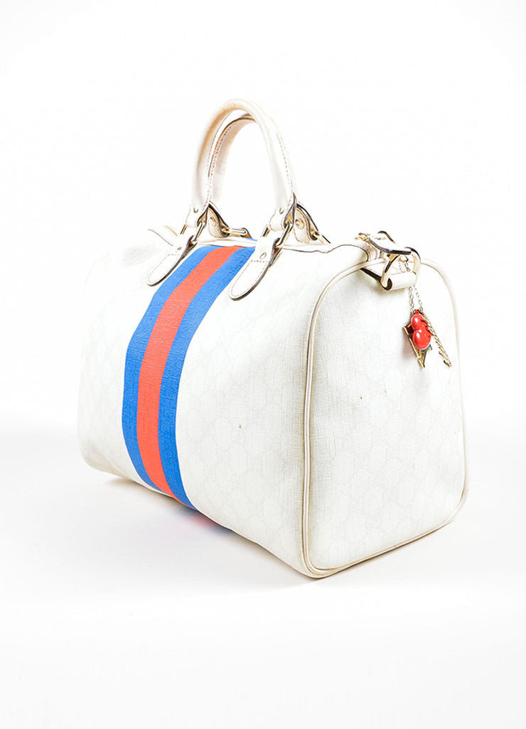 "Cream, Blue, and Red Gucci Coated Canvas Monogram Stripe ""Loves NY"" Boston Bag Sideview"