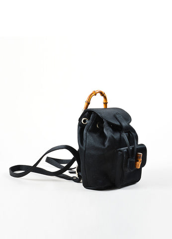 Gucci Black Satin Bamboo Embellished Flap Mini Backpack Sideview