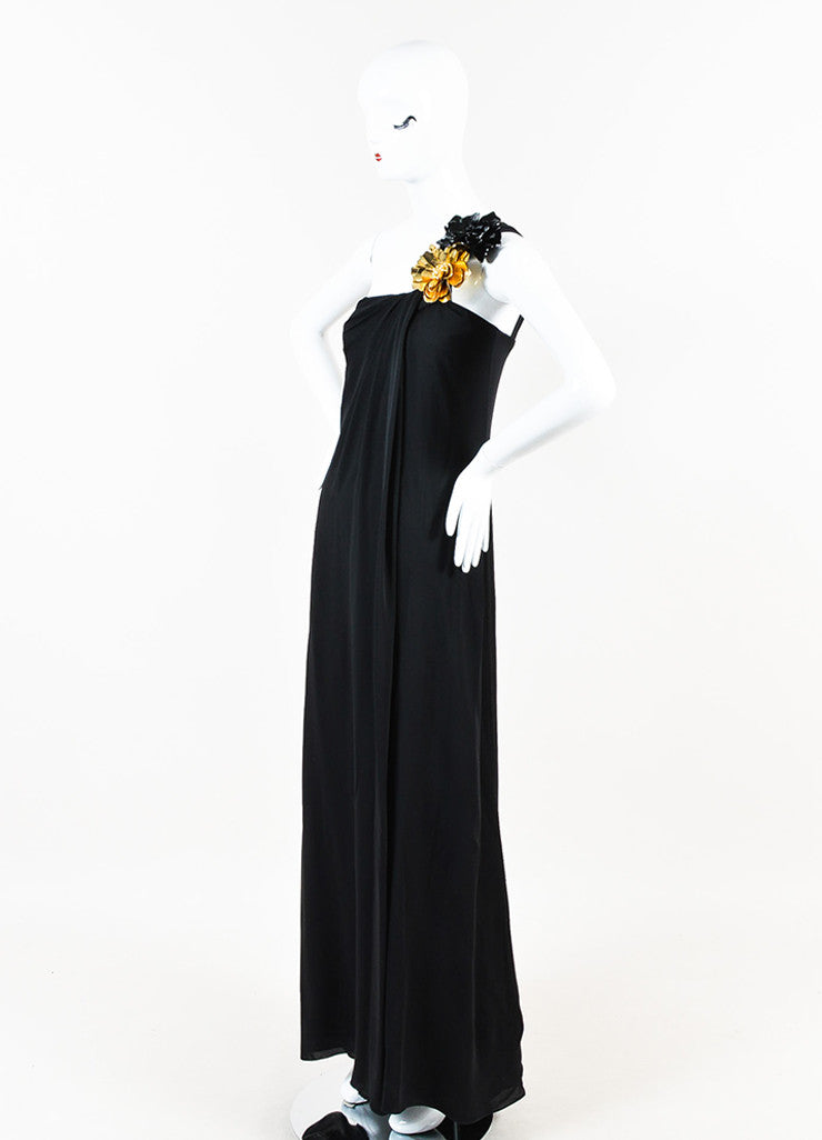 Gucci Black Silk Gold Flower Detail One Shoulder Long Draped Gown Sideview