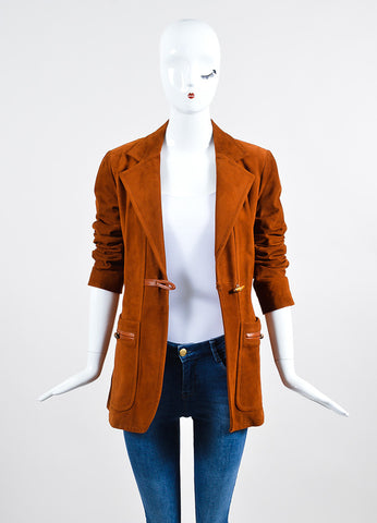 Cognac Brown Gucci Suede Leather Bamboo Toggle Jacket Frontview