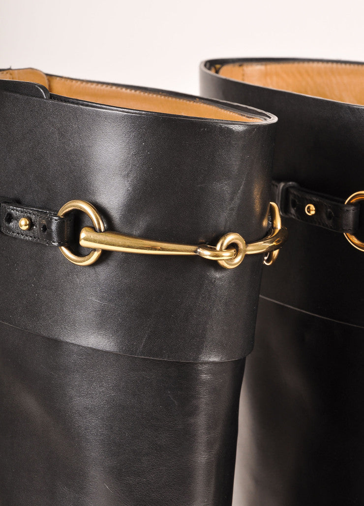 "Gucci New In Box Black Leather and Gold Toned Horse Bit ""Jamie"" Riding Boots Detail"