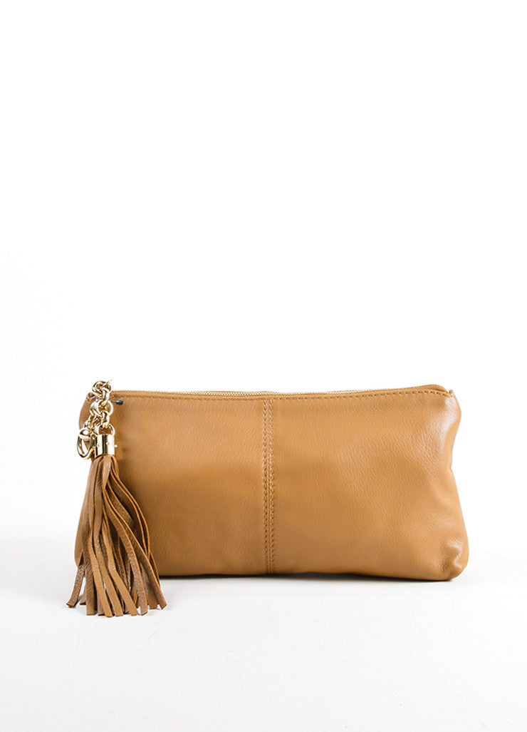 Gucci Tan Pebbled Leather Tassel Zip Pouch Clutch Front