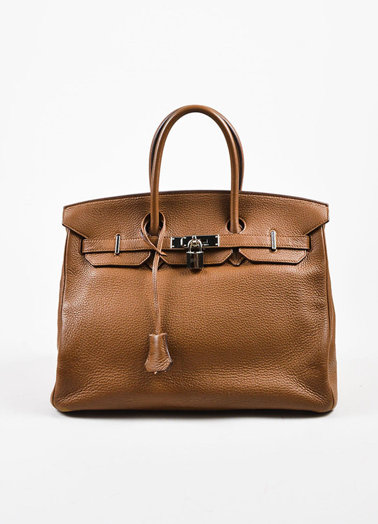 "Hermes ""Alezan"" Brown Clemence Leather Silver Toned Hardware 35 cm ""Birkin"" Bag Frontview"