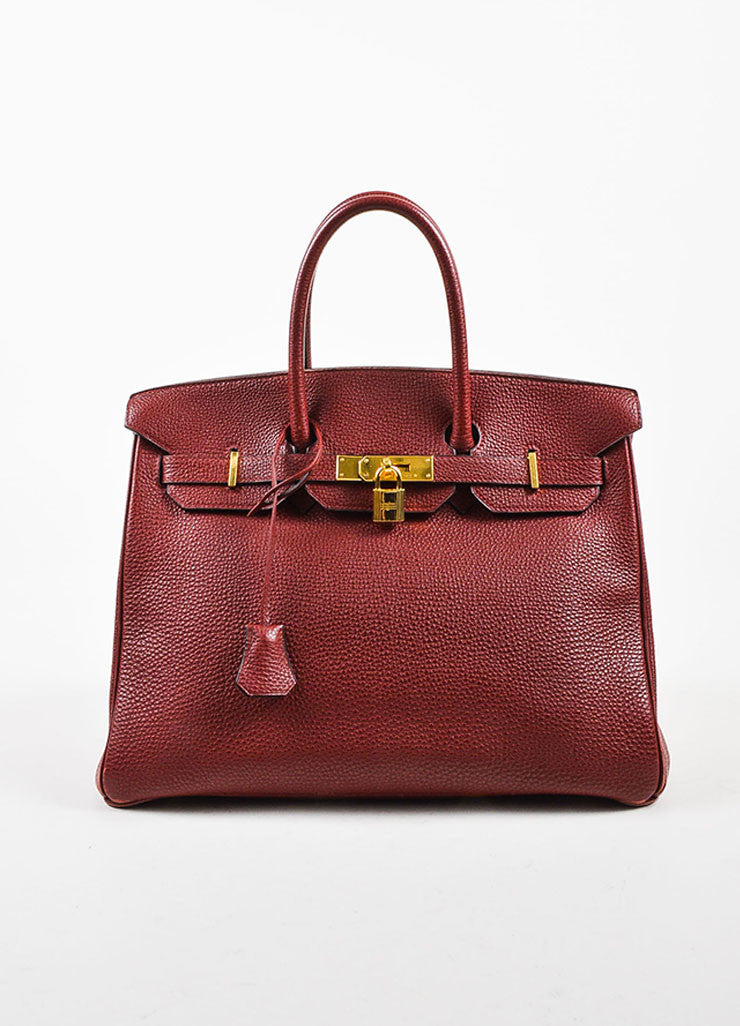 "Hermes Dark Red ""Rouge"" Clemence Leather Flap ""Birkin"" Bag Frontview"