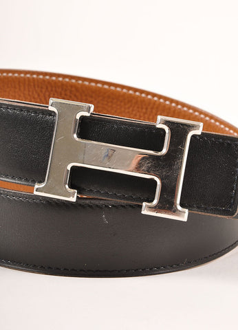 "Hermes Black and Brown Reversible Leather ""Constance"" Belt Detail"