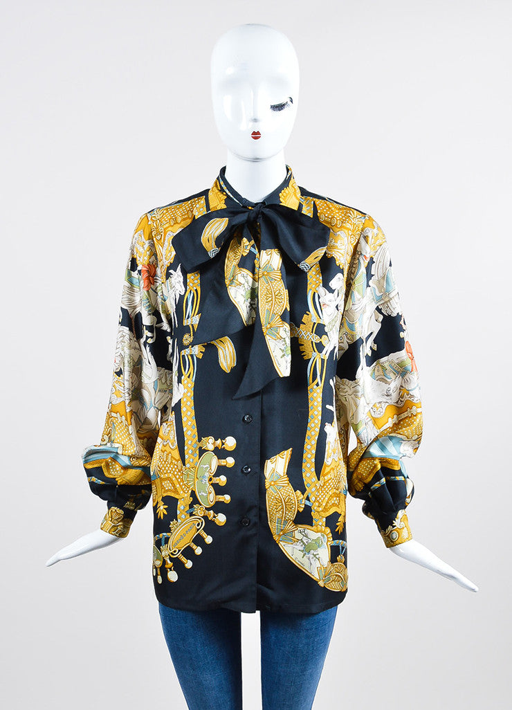 Black and Multicolor Hermes Silk Carousel Animal Print Neck Tie Long Sleeve Blouse Frontview
