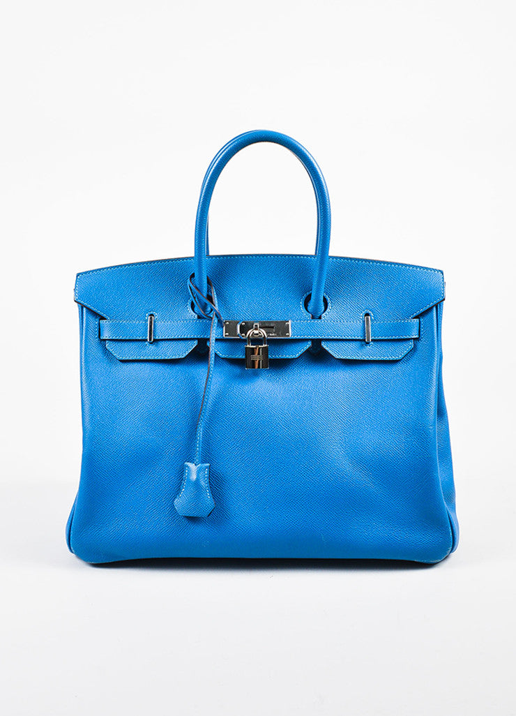 "Hermes Bleu de Galice Epsom Leather Palladium Hardware ""Birkin"" Bag Front"
