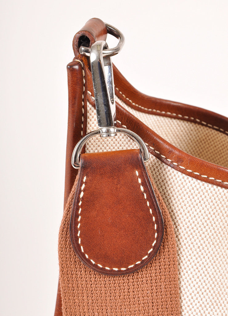 "Hermes Brown and Cream Leather and Canvas ""Evelyne PM"" Crossbody Shoulder Bag Detail 2"