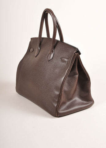 "Chocolate Brown and Gold Toned Hermes Epsom Leather 35 cm ""Birkin"" Bag Sideview"
