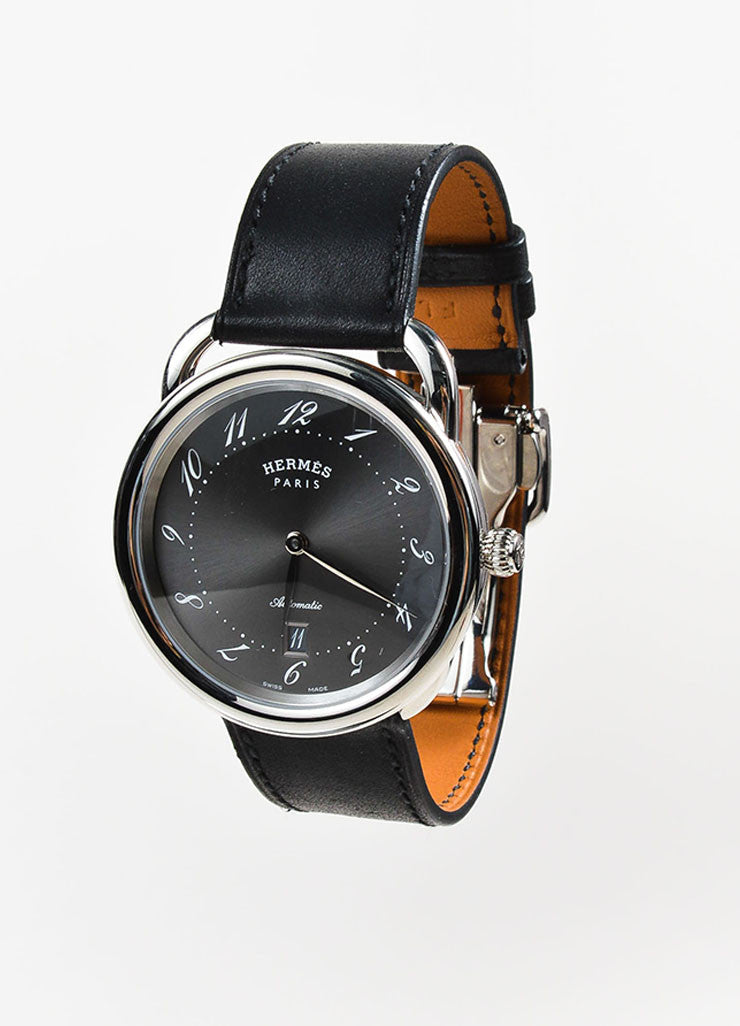 "Hermes Stainless Steel and Black Leather ""Arceau TGM"" Automatic Watch Sideview"