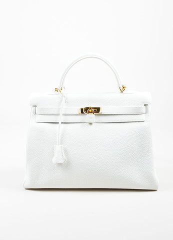 "Hermes Blanc White Clemence Leather Gold Toned Hardware ""Kelly"" 35cm Bag Frontview"