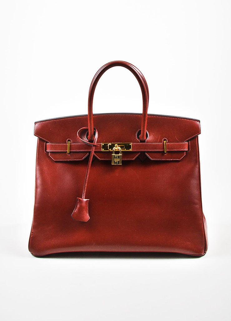 "Hermes Oxblood Red Box Calf Leather 35cm ""Birkin"" Handbag Frontview"