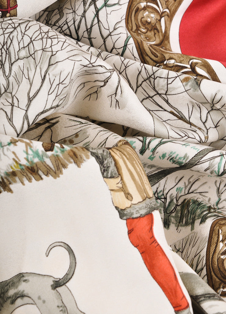 "Hermes Red, Cream, and Multicolor Winter Scene ""L'Hiver"" Silk Scarf Detail"