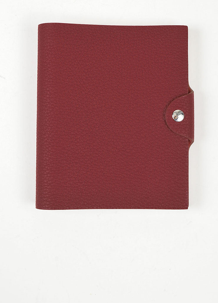 "Red Pebbled Leather Hermes ""Ulysse PM"" Agenda Notebook Cover with Paper Refill Frontview"