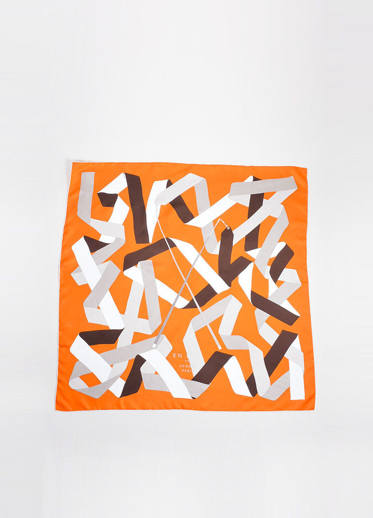"Orange, Brown, and White Hermes Silk ""En Duo"" Scarf Frontview"