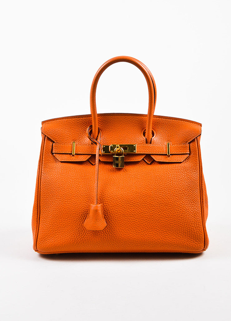 "Hermes Tangerine Orange Clemence Grain Leather Top Handle ""Birkin 30"" Tote Bag Frontview"
