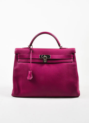 "Hermes 'Tosca' Magenta Pink Clemence Leather 40cm ""Kelly"" Structured Handbag Frontview"