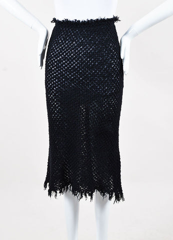 Isabel Marant Etoile Navy Cotton Crochet Knit Fringe Trim Midi Skirt Frontview