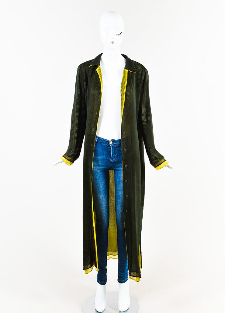 Issey Miyake Olive Green Stretch Pleated Color Block Long Duster Jacket  Frontview