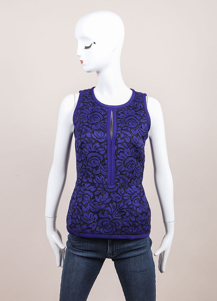 J. Mendel New With Tags Blue and Black Lace Embroidery Sleeveless Peplum Blouse Frontview