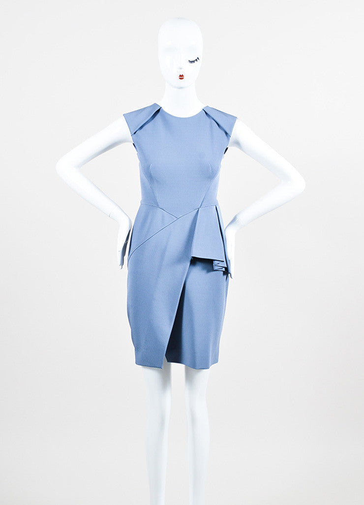 J Mendel Blue Stretch Knit Sleeveless Structured Front Peplum Sheath Dress Frontview